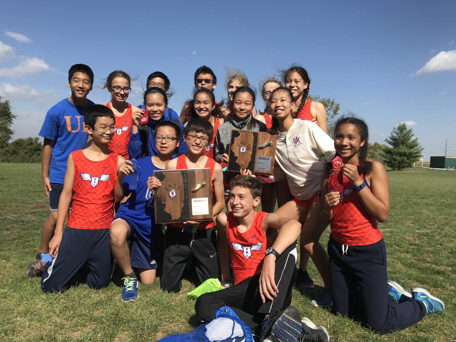 The subbie teams with their Sectional plaques. The boys finished in 1st place, and the girls finished in 2nd. (Photo courtesy of Sumi Yoneji)